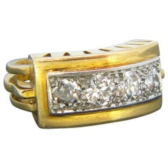 Retro 1940s Four Diamonds Yellow Gold Platinum Ring
