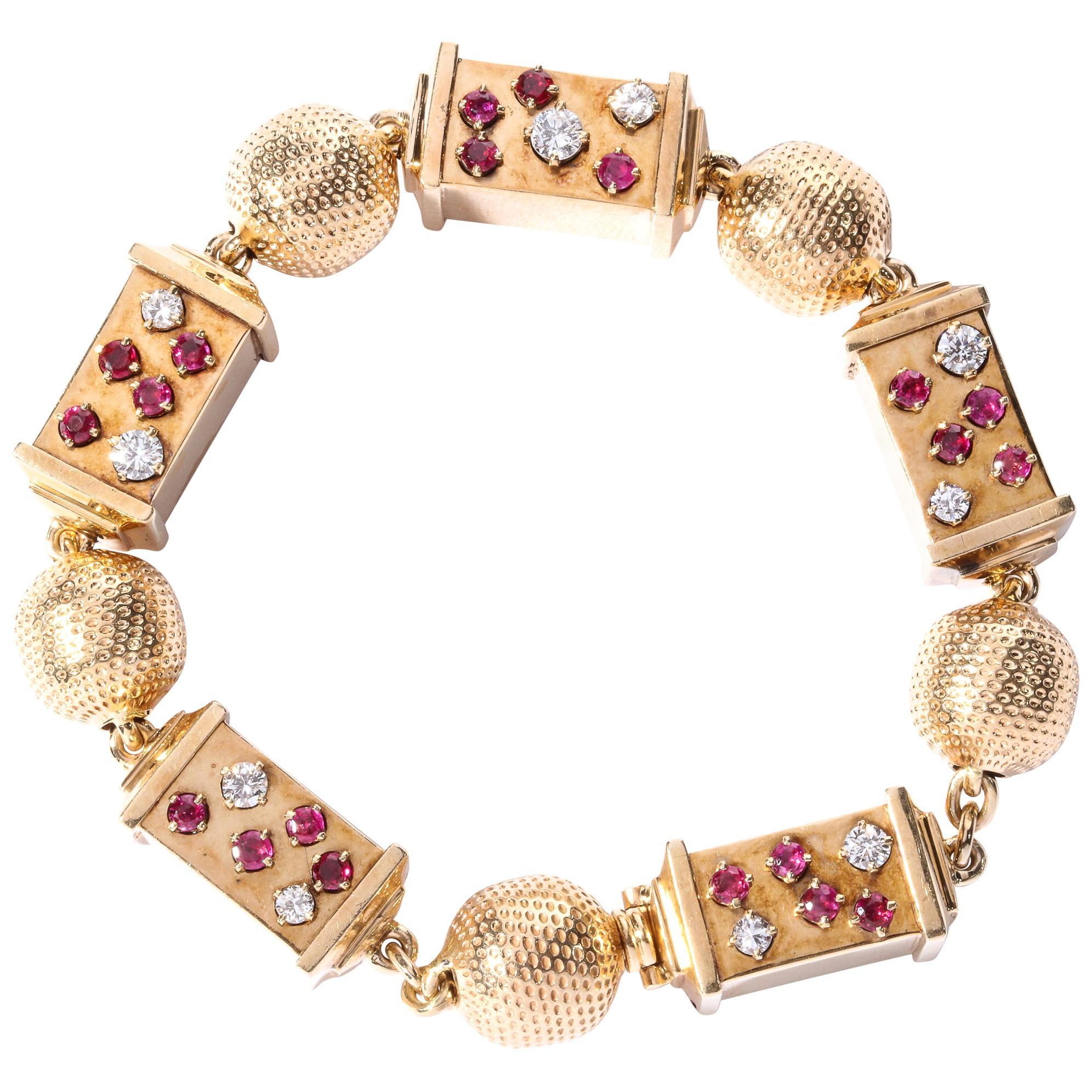 Retro 1940s Ruby, Diamond and Rose Gold Link Bracelet