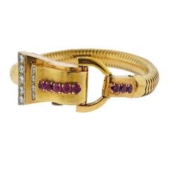 Retro 1940s Ruby Diamond Gold Watch Bracelet