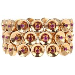 Retro 1940s Ruby Gold Disc Link Bracelet