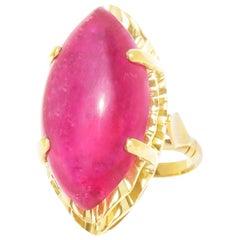 Retro 1950s 22.15 Carat Tourmaline Gold Ring