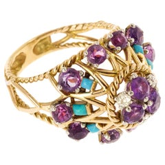 Retro 1950s Amethyst, Turquoise Diamonds 18 Karat Yellow Gold Dome Ring