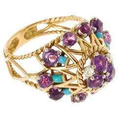 Retro 1950s Amethyst, Turquoise Diamonds 18 Karat Yellow Gold Dome Ring