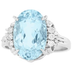 Retro 1950s Aquamarine and Diamond-Set Platinum Ring