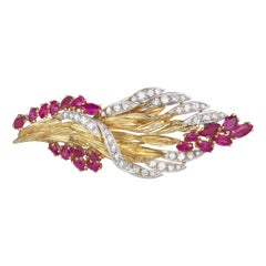 Retro 1950s Diamond Ruby Large Bouquet Brooch in 18K Gold & Platinum