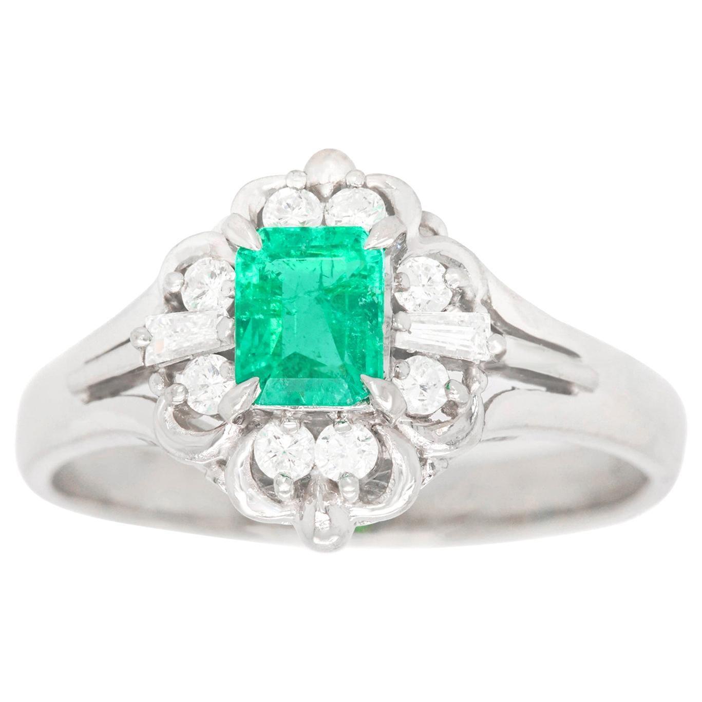 Retro 1950s Emerald and Diamond Ring