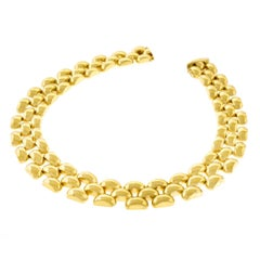 Retro 1950s Heavy Panther Link Gold Necklace