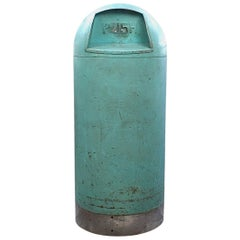 Retro 1950s MCM Industrial Turquoise Green Painted Bullet Form Steel Trash Can