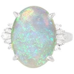 Retro 1950s Opal Ring in Platinum