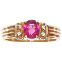 Retro 1950s Pink Sapphire Diamond 18 Karat Gold Ring