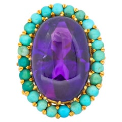 Retro 1960s Amethyst Turquoise 18 Karat Gold Cluster Cocktail Ring