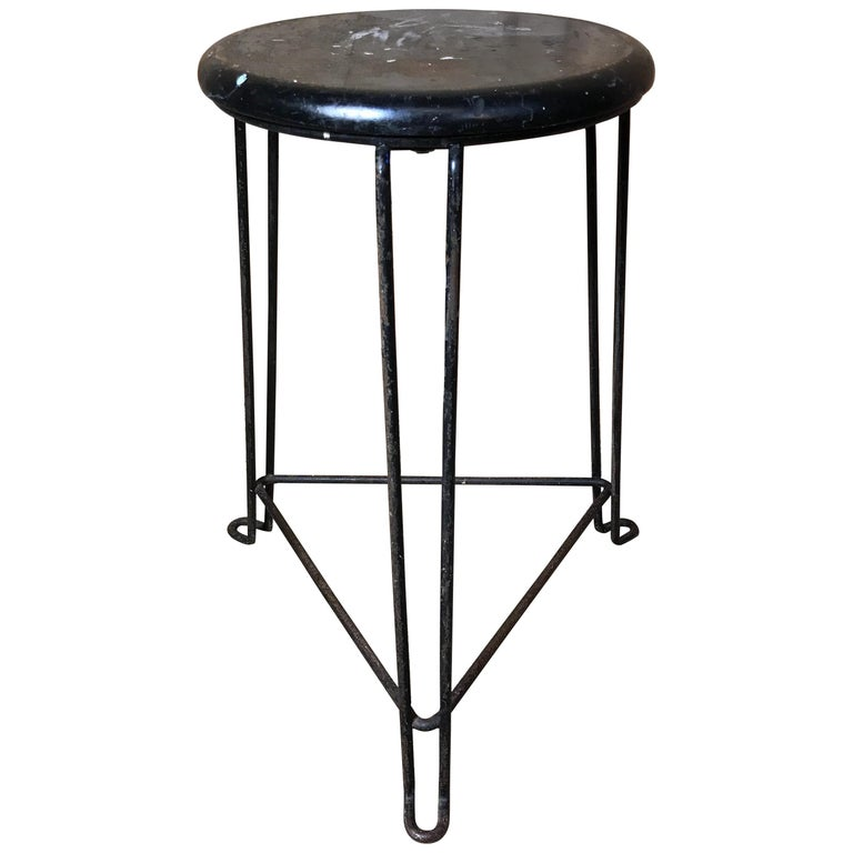 Tremendous Retro 1960S Wooden Seat With Metal Frame Tomado Stool Black Seat Ocoug Best Dining Table And Chair Ideas Images Ocougorg