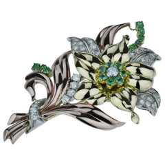 Retro 1970 Big Flower Diamond Emerald Brooch, in 18K Rose, Yellow, White Gold