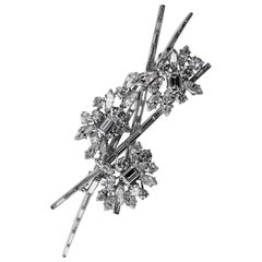 Retro 1970s Kutchinsky London Diamond Spray Brooch in Platinum