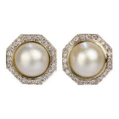 Retro 1980s Style 14 Karat Gold, Diamond, and Mabe Pearl Omega Clip Earrings