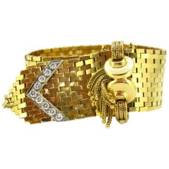 Retro 1ct Diamonds Tassels Yellow Gold Platinum French Belt Flexible Bracelet