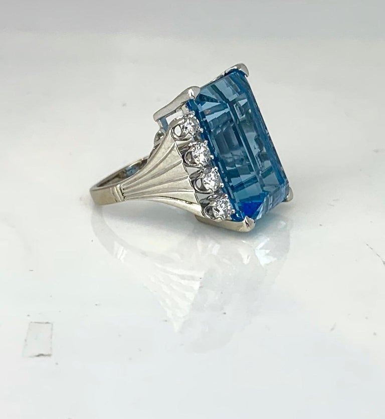 Emerald Cut Retro 20 Carat Aquamarine and Diamond Ring For Sale