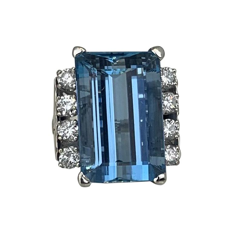 Retro 20 Carat Aquamarine and Diamond Ring For Sale