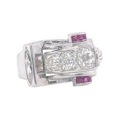 Retro 2.00 Carat Old Mine Cut Diamond Ruby Platinum Ring
