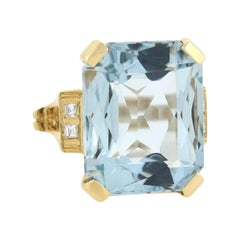 Retro 20.00 Total Carat Aquamarine and Diamond Cocktail Ring
