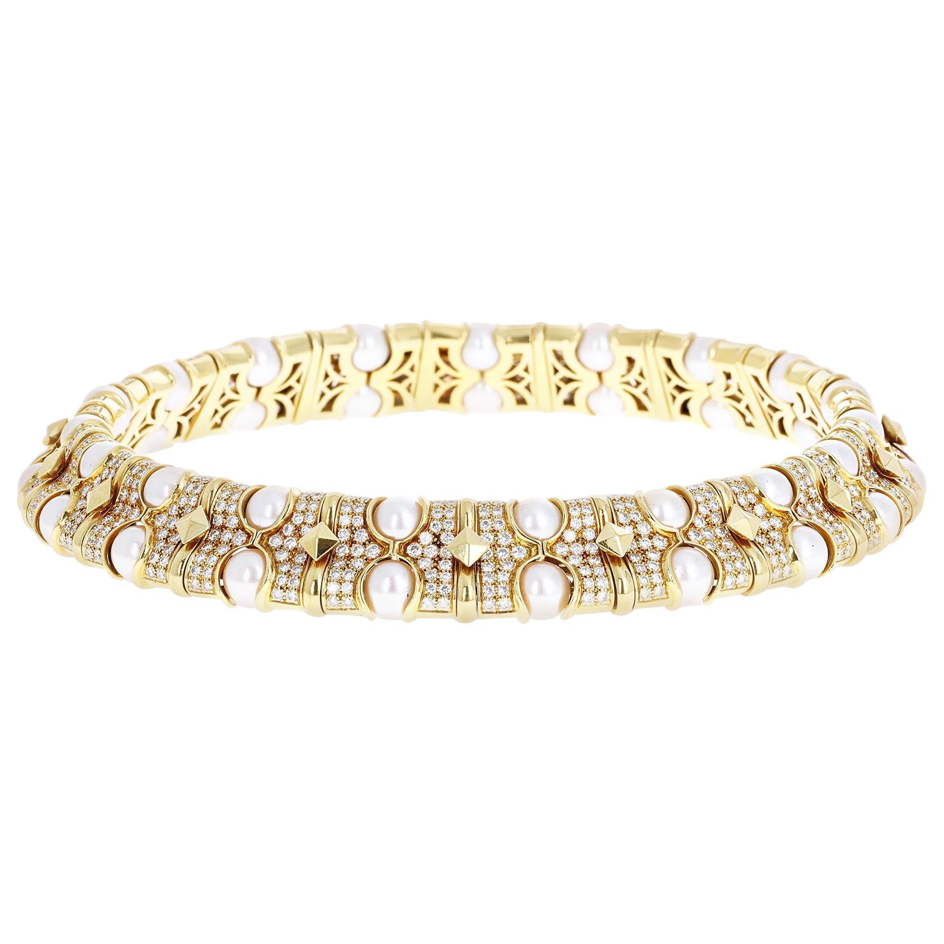 Retro 21.78 Carat Diamond and Pearl Collar Necklace