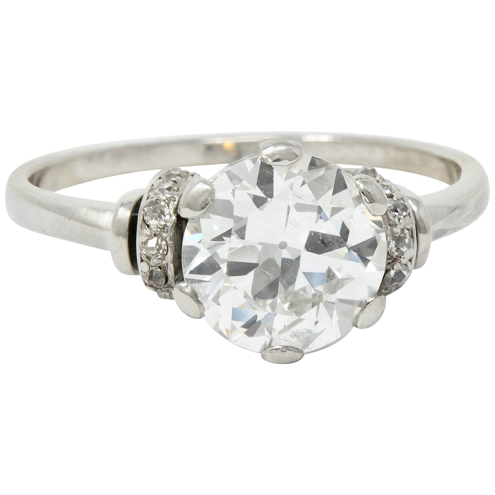 Retro 2.20 Carat Diamond Platinum Engagement Ring GIA