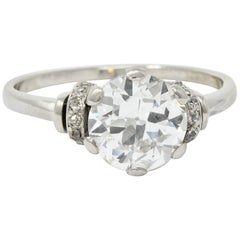Retro 2.20 Carat Diamond Platinum Engagement Ring GIA