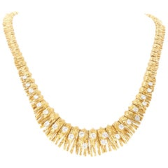 Retro 2.25 Carat Yellow Gold Bark and Diamond Necklace