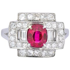 Retro 2.25 Carat No Heat Burma Ruby Diamond Platinum Burmese Ring GIA
