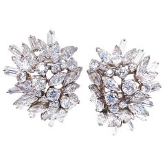 Retro 24 Carats Diamond Platinum Cluster Earrings by Ostier, Inc