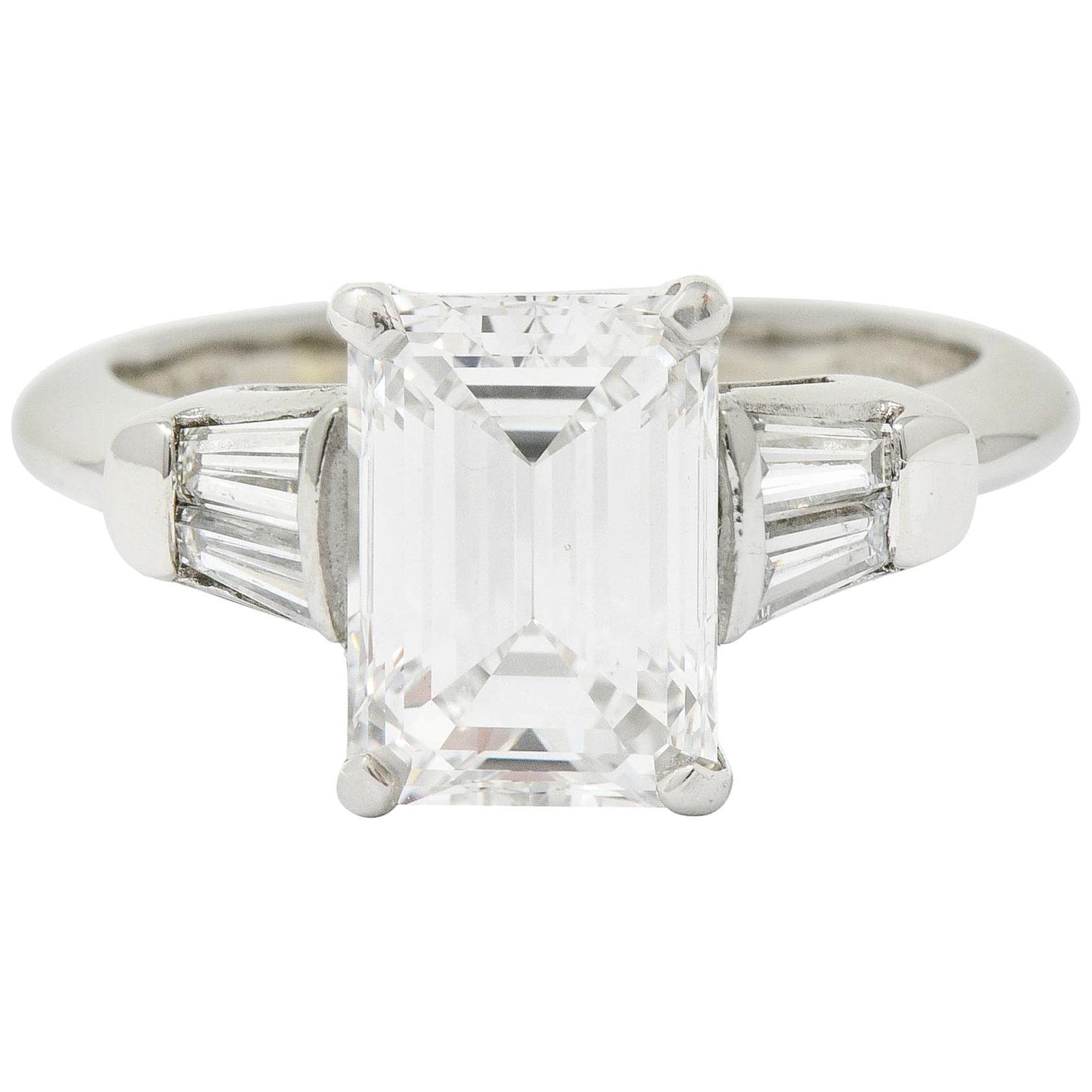 Retro 2.47 Carat Emerald Cut Diamond Platinum Engagement Ring GIA