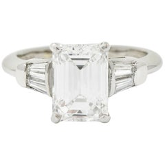 Retro 2.47 Carat Emerald Cut Diamond Platinum Engagement Ring GIA