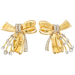 Retro 2.75 Carat Diamond 18 Karat Two-Tone Gold Bow Clips