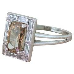 Retro 2.83 Carat Fancy Orangey Brown and Baguette Cut Diamond Ring