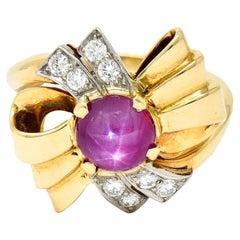 Retro 2.90 Carats Star Ruby Diamond 14 Karat Gold Bow Band Ring