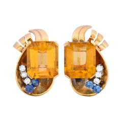 Retro 29.26 Carat Citrine Diamond Sapphire 14 Karat Gold Ear-Clip Earrings