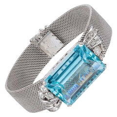 Retro 30 Carat Aquamarine and Diamond Bracelet