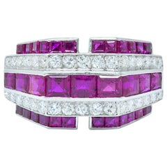 Retro 3.00 Carat Diamond Ruby Platinum Stepped Band Ring, circa 1940