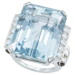 Retro 30.00 Carat Emerald Cut Aquamarine Diamond Palladium Cocktail Ring