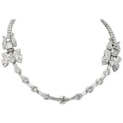 Retro 30.20 Carat Diamond Platinum French Convertible Necklace & Bracelets, 1950
