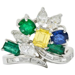 Retro 3.17 Carat Diamond Sapphire Emerald Platinum Bypass Cluster Ring