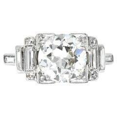 Retro 3.29 Carat Old European Diamond Platinum Engagement Ring GIA, circa 1940s