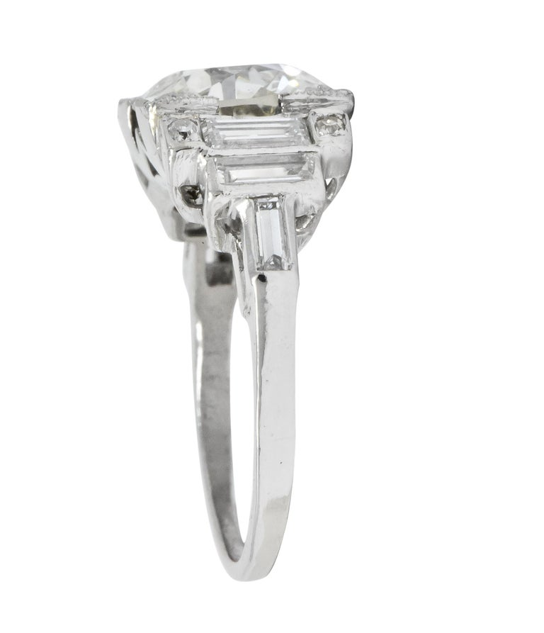 Old European Cut Retro 3.29 Carat Old European Diamond Platinum Engagement Ring GIA, circa 1940s For Sale