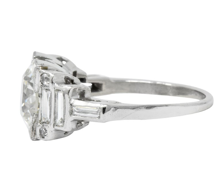 Retro 3.29 Carat Old European Diamond Platinum Engagement Ring GIA, circa 1940s In Excellent Condition For Sale In Philadelphia, PA