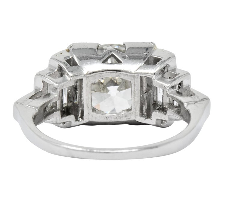Women's or Men's Retro 3.29 Carat Old European Diamond Platinum Engagement Ring GIA, circa 1940s For Sale