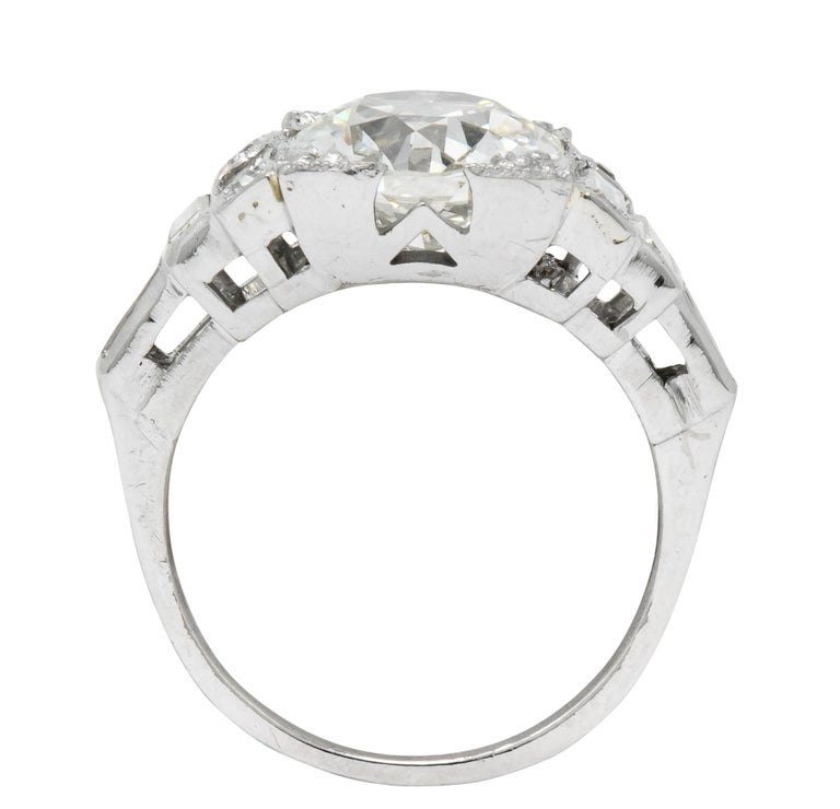 Retro 3.29 Carat Old European Diamond Platinum Engagement Ring GIA, circa 1940s For Sale 1