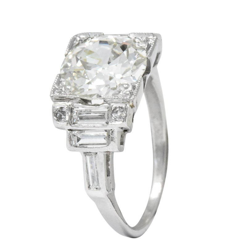 Retro 3.29 Carat Old European Diamond Platinum Engagement Ring GIA, circa 1940s For Sale 2