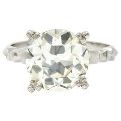 Retro 3.47 Carat Diamond Platinum Engagement Ring GIA