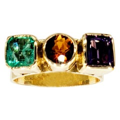 Retro 3.50 Carat Emerald, Amber and Amethyst Gemstone Ring 14 Karat Gold