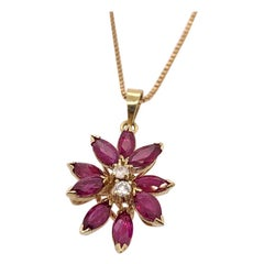 Retro 3.50 Carat Natural Marquise Ruby and Round Brilliant Diamond Gold Pendant